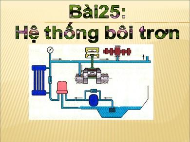 Bài giảng Công nghệ khối 11 - Bài 25: Hệ thống bôi trơn