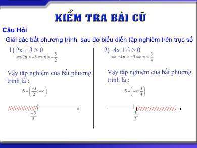 Bài giảng môn Đại số khối 10 - Chương 4, Bài 3: Dấu của nhị thức bậc nhất