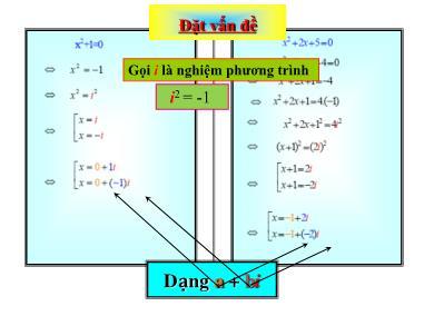 Bài giảng môn Giải tích khối 12 - Chương 4, Bài 1: Số phức