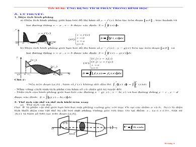 Bài giảng môn Giải tích lớp 12 - Tiết 85+86: Ứng dụng tích phân trong hình học