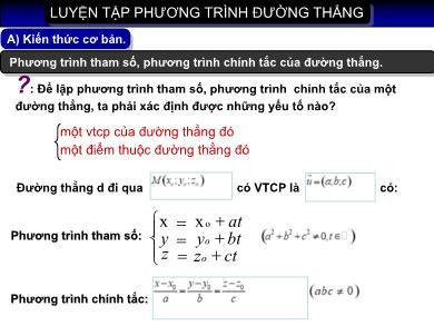 Bài giảng môn Hình học lớp 10 - Luyện tập phương trình đường thẳng