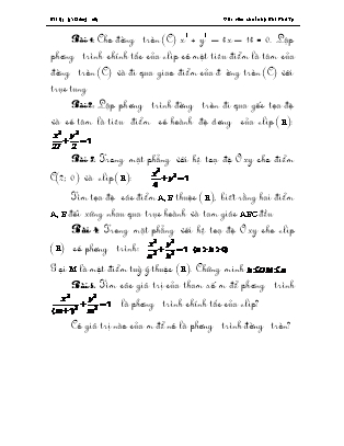 Bài tập về Phương trình đường Elip Hình học lớp 10 - Bùi Phú Tụ