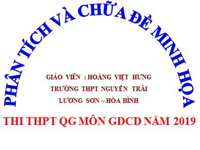 Đề thi minh họa THPT quốc gia Giáo dục công dân lớp năm 2019 - Trường THPT Nguyễn Trãi