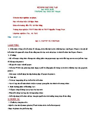 Giáo án Hóa học lớp 12 - Tiết 19, Bài 11: Peptit và protein - Lê Ngọc Nam