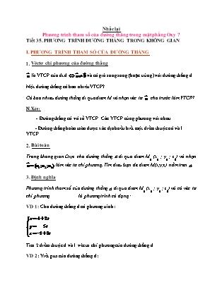 Giáo án môn Hình học lớp 12 - Tiết 35: Phương trình đường thẳng trong không gian