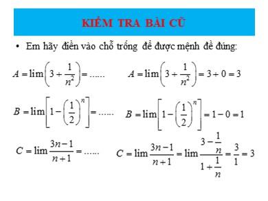 Ôn tập giới hạn của dãy số Đại số lớp 11